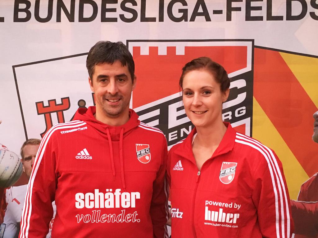FBC-Vorstand Ralf Heup mit der neuen Männer-Trainerin Birthe Lilienthal (Foto. FBC)