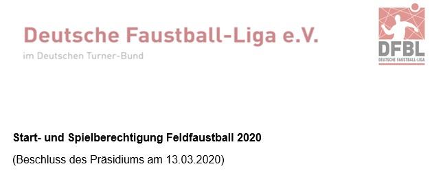 Start-und Spielberechtigung Feld2020